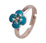 lureme®enamel fleur bague en alliage réglable set (bleu)