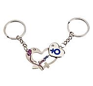 1-Pair Aluminum Lock and Key Style Couple Keychain