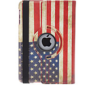Rotatable Design Retro US Flag Pattern PU Leather Case with Stand for iPad mini