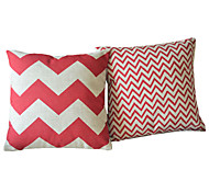 Juego de 2 Modern Red geométrica de algodón / lino Cubierta almohada decorativa
