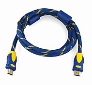 High Speed HDMI 1.4 Version Cable  w/Ferrite Cores  (3 m, Blue & Gold)