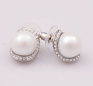 Alloy And Zircon Surrounded Pearl Earrings