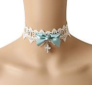 Lureme®Diamond-Studded Cross & Blue Bowknot White Lace Necklace