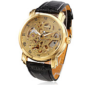 Men's PU Analog Mechanical Wrist Watch (Black)
