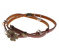 Four Leaf Flower Leather Long Bracelet