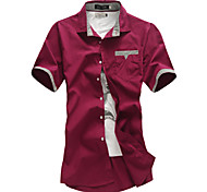 Men's Solid Casual Shirt,Cotton Short Sleeve Black / Red / White