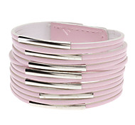 Multilayer Leather Metal Ring Wide Bracelet(Pink)