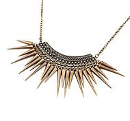 Lureme®Gothic Punk Vintage Style Bronze Spike Tassel Choker Necklace