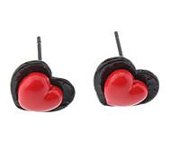 Red Peach Herz-Ohrringe