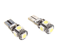 T10 1W 5x5050SMD White Light LED Bulb for Car Instrument/Side Marker Lamp CANBUS (12V, 1-Pair)
