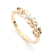 Lureme®Gold Plated Alloy Zircon Hollow-out Butterfly Pattern Ring
