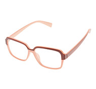 Unisex Transparent Lens Pink Frame Rectangle Eyeglasses