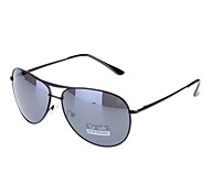 Unisex Dark Gray Lens Black Frame Aviator Sunglasses