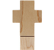 8GB Fashionable Design Wooden Cross Shaped USB Flash Drive (Brown)