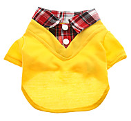 Dog Shirt / T-Shirt Blue / Yellow / Orange Summer Plaid/Check
