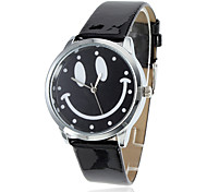 Women's Smiling Face Style PU Analog Quartz Wrist Watch (Black)