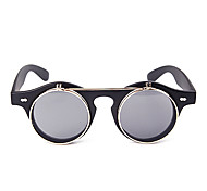 Unisex Gray Lens Black Frame UV400 Protection Round Flip-Open Sunglasses