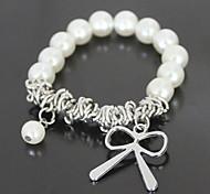 Silver Bowknot de la perla de la pulsera