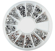 240PCS Nail Art Silver Mixed Shapes Acrylic Rhinestone