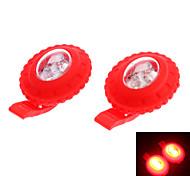 HJ015-2 3-Mode 2-LED faro / luz de la bicicleta 2 Luces / paquete (2xCR2032, rojo)