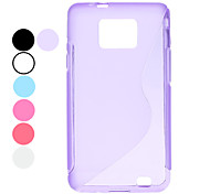 S Shaped Design Transparent Soft Case for Samsung Galaxy S2 I9100 (Assorted Colors)