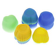 Sweet Heart Shaped Colorful Silicone Mini Cupcake Mould (20pcs)