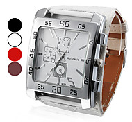 Men's Watch Dress Watch Big Square Dial PU Band Wrist Watch Cool Watch Unique Watch Fashion Watch