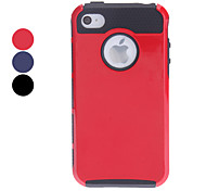 Double Shells Design Black TPU Inner Shell Hard Case for iPhone 4/4S (Assorted Colors)