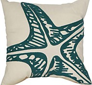"18"" Square Dream Sea Star Embroidery Polyester Decorative Pillow Cover"