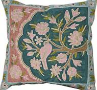 """18 """"Blue Square y Bordados poliéster almohada cubierta decorativo Floral Negro"""