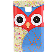 Staring Cartoon Owl with Red Face and Flora Wings Pattern Hard Case for LG E400 Optimus L3