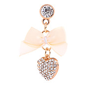 Bowknot And Peach Heart Alloy Chain Zircon Anti-dust Plug