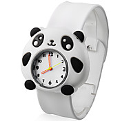 panda encantador estilo branco silicone banda quartzo relógio de pulso analógico infantil