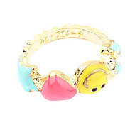 Gold Plated Alloy Acrylic Smile Pattern Ring