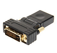 DVI 24+1 to HDMI V1.3 Male to Female Adapter Black Gold-Plated 360 Degree Revolve