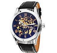 Men's Classic Skeleton Black Dial Leather Band Automatic Self Wind Wrist Watch