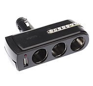 Portable USB Power Supply Socket Doble + USB cargador de coche con salida 12V/24V