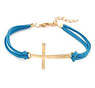 Уникальный металлический крест кожаный браслет ножной (случайные цвета)