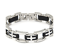 Men's Silver Plated Alloy Cross Pattern Bracelet
