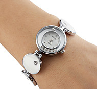 Frauen-analoge Quarz-Armbanduhr (weiß)
