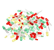 3mm & 5mm Light-emitting Diode - Green + Red + Yellow (100-Piece Pack)