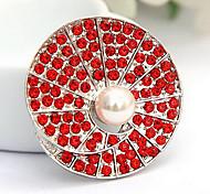 Round Fan-Shape Full-Diamond Brooch(Random Color)