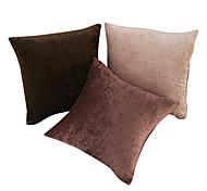 Juego de 3 Solid poliéster y cubierta de almohadas decorativas de algodón