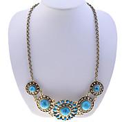 Lureme®Bohemian Style Retro Flower Gem Necklace