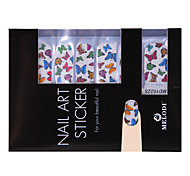 14PCS Nail Art Stickers Pure Color Glitter Powder Series Colorful Butterflies