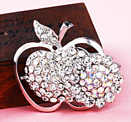 Silver Plated Full Rhinestone Apple Brooch