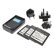 Wall Charger, 3 Batteries and 3 Plugs for Samsung Galaxy S4 I9500 (2800mah)