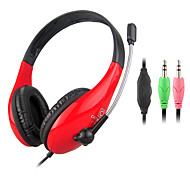 Stereo 3.5mm On-Ear Headphone with Mic and Remote for PC (Black,Red)