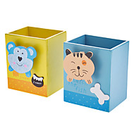 Animal Pattern Wooden Pen Holder (Random Color)