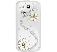 S Forma y el caso duro del patrón de flor con el Rhinestone para Samsung Galaxy S3 I9300